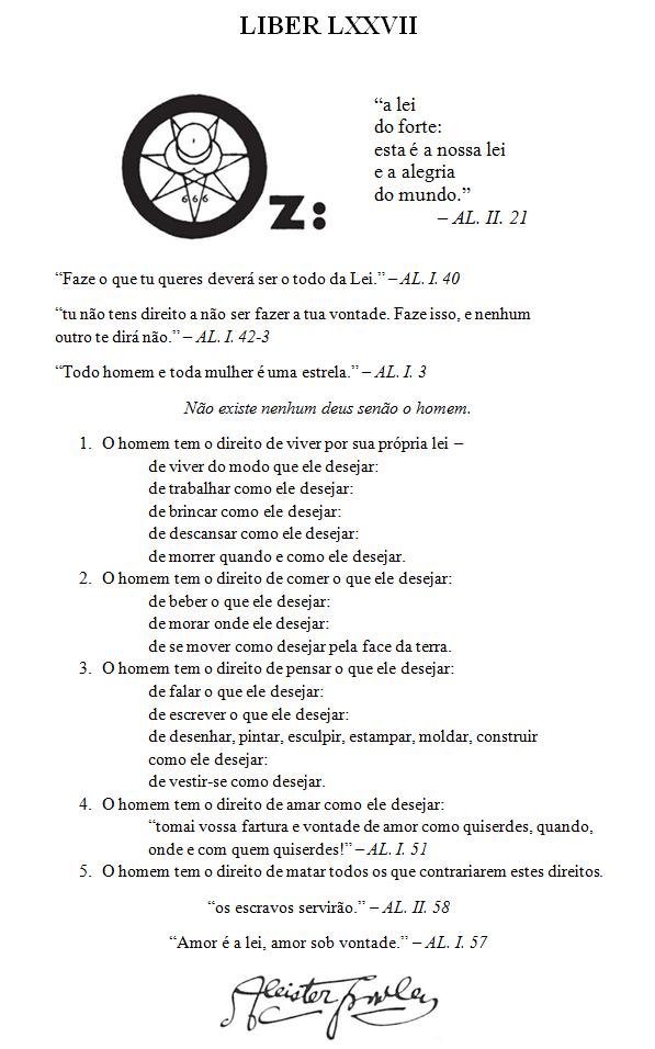 Liber LXXVII vel OZ
