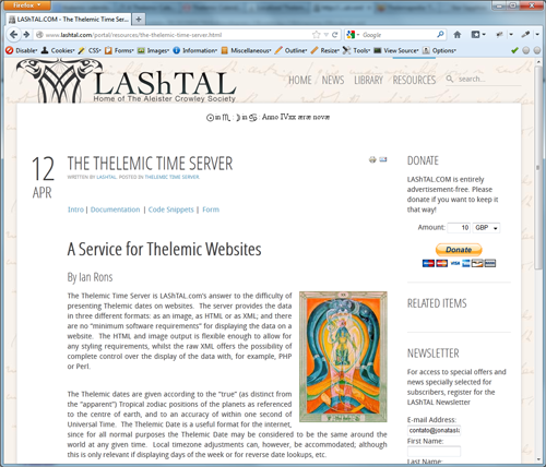 The Thelemic Time Server - 1
